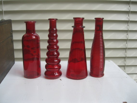 Items similar to red decorative colored glass bottles for Colored bottles for decorations