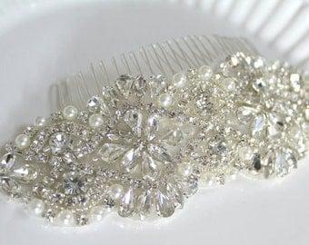 Bridal Beaded Pearl & Crystal Large Luxury Headpiece. Rhinestone Wedding Applique Hair Comb. DUCHESS