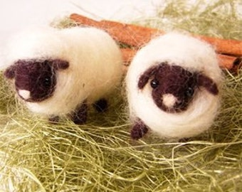 DIY Felted wool SHEEP brothers  KIT Japanese craft kit
