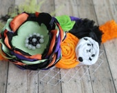 Spooky halloween headband, purple, orange, green and black for  fall,  inspired with pearls, lace and feathers, newborn girl