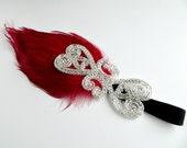Feather Headband, Great Gatsby Headband, Silver Beaded Art Deco Red Flapper Headband, 1920s Headpiece, 1920s Hair Accessory Vintage Inspired