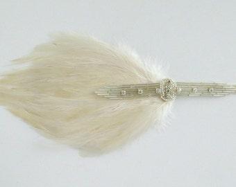 Bridal Headpiece Silver Rhinestone Flapper 1920s Ivory Headpiece, Gatsby Wedding Headband Cream OR Black Feather Headband