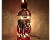 """University of Alabama Bottle Light Style #2 """"Bama"""" Upcycled Hand painted Lamp"""
