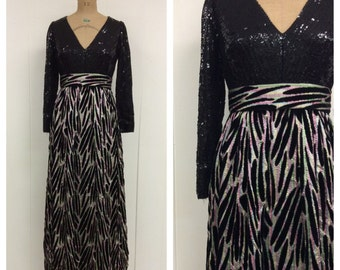 1960s 1970s Sequin Gown 60s 70s Maxi Dress