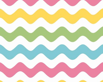 Girl Wave Fabric by Riley Blake.  Pink, Blue, Green and Yellow Waves on white.