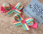 Spring Rainbow Striped Twist Bows-No Slip Hair Clip Set-Infant-Toddler-Girl-Pigtails-Pink