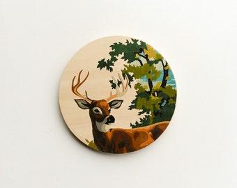Paint by Number Large Circle Art Block 'Stag' - deer, buck, woodland, vintage