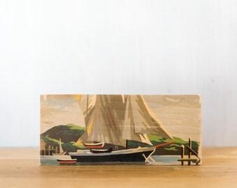 Paint by Number Art Block 'Sailboat' - sailing, ship, marine art, vintage seascape