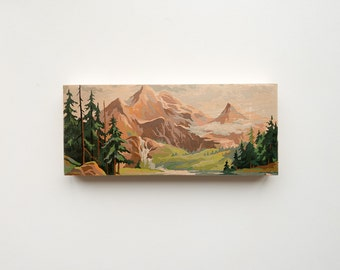 "Paint by Number Large 6"" x 14"" Art Block 'Mountain Valley' - vintage landscape"