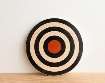 Target Circle Art Block - Black/White/Red - archery target, bull's eye, colorway #17