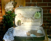 wedding suitcase banner CARDS cards holder travel suitcase  Green Retro Luggage