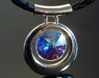 Swarovski Crystal AB Pendant Genuine Leather Cord