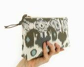 Ikat floral zipper pouch | Ecru, light gray, dark grey and dusk aqua | Small clutch purse, Makeup bag, Gadget and pencil case | Gift for her