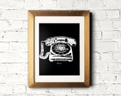 Black and white rotary phone print - Retro vintage telephone printable art, poster, wall decor, illustration - 8x10 DIY framed art