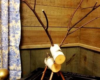 Birch Log Reindeer