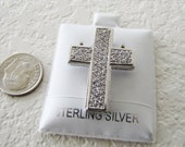 Sterling Silver Latin Cross Pendant with cz accent, Dazzling Bling Bling