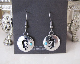 Vintage Native American Kokopelli Sterling silver Turquoise earrings
