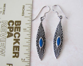 Vintage Marquisel Art Deco Style Sterling Silver Earrings