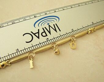 14K Gold I Love U Charm Bracelet, 7.25 inches, gift for Sweetheart