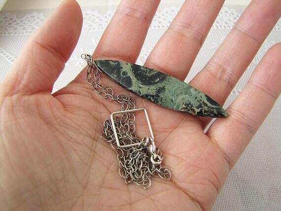Sterling silver Modern Art Design Marquise Kambaba Jasper Texture Chain Necklace