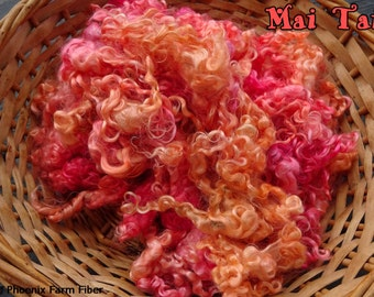 "1 oz Hand Dyed Kid Mohair Locks in ""Mai Tai,"" Pink, Orange, Tropical, Curly Locks, Doll Hair, Lockspun, Tailspun, Spinning, Blending Locks"
