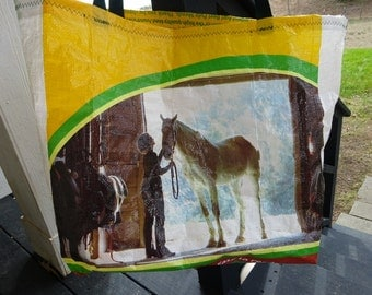 Large Upcycled Feed Bag Tote, Horse Lover's Tote, Carry-All, Easy-Carry Nylon Web Handles, Machine Washable, Beach, Gym Bag, Charity Tote