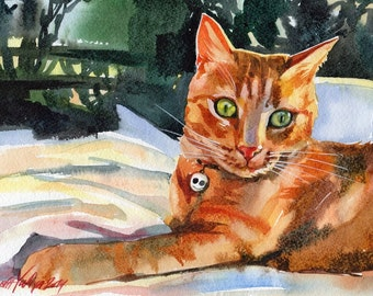 Original Watercolor Painting Red Cat Ginger Tabby Kitty Kitten Cute