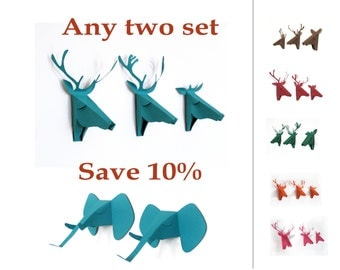 Save 10%, Any two set of 3 faux deer head or 2 elephant head, faux taxidermy , greeting card, Mini Taxidermy