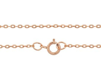 14Kt Rose Gold Filled 1.8x1.2mm 18 Inch Drawn Flat Cable Neck chain with clasp - 1pc 10% Discounted High Quality Finished Chain (6761)/1