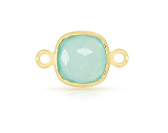 Sterling Silver Gold Plated 10mm Square Aqua Chalcedony Gemstone Bezel Connector - 1pc Good Quality Wholesale price (7556)/1