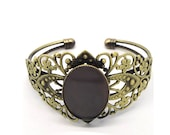 5pcs  Antiqued Bronze Color Metal Bracelets with 25x18mm Gear Edge  Cameo Setting