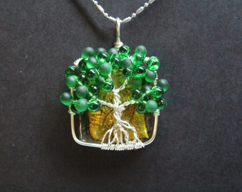 Green Tree of Life on A Golden Brown Foil Square Glass Bead Necklace Pendent