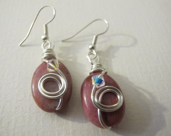 Tiny silver wire wrapped earrings pink Rhodonite crystals