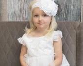 Couture Snow White Baby Flower Headband, Flower Headband, Christening Headband, Baptism Headband, Bridal Headband, Easter Headband