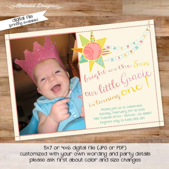 sunshine birthday invitation you are my sunshine little girl 1st birthday photo picture brighter than the sun rainbow 259 Katiedid Designs