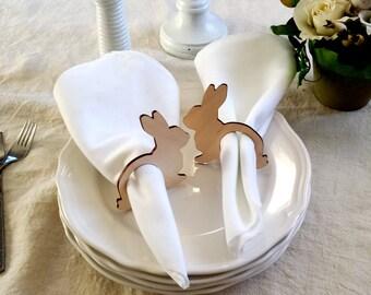 Easter napkin rings, Bunny napkin rings, wooden napkin rings, spring, easter table
