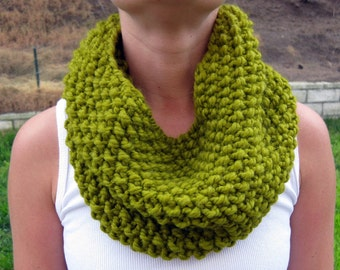 Lemongrass Cowl Scarf, Hand Knit Infinity Scarf, Hand Knit Cowl Scarf, Chunky Scarf, Chunky Knit, Snood, Winter Accessories