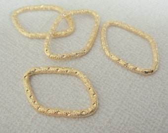 Gold Single Small textured Oval Long Connector, Pendants, Charms, Earring Findings, 2 pc, W63624A