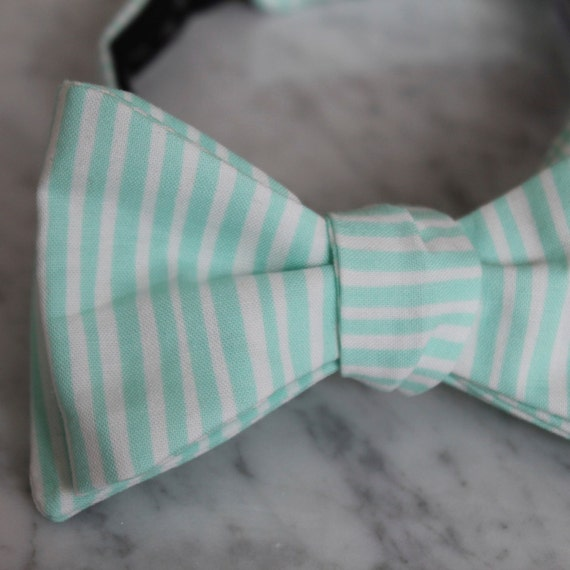 Bright Mint Green Straw Stripes Bow Tie - Groomsmen and wedding tie - clip on, pre-tied with strap or self tying