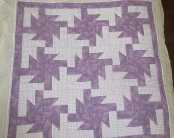 "Flannel Quilt, Wall Hanging, Crib Quilt, Cuddle Quilt, Spinning Stars 30"" x 30"""