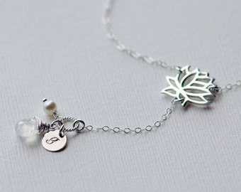 Silver Lariat Necklace, Lotus Flower, Personalized Initial Necklace, Birthstone Necklace, Mothers Gift, Bridesmaid Necklace