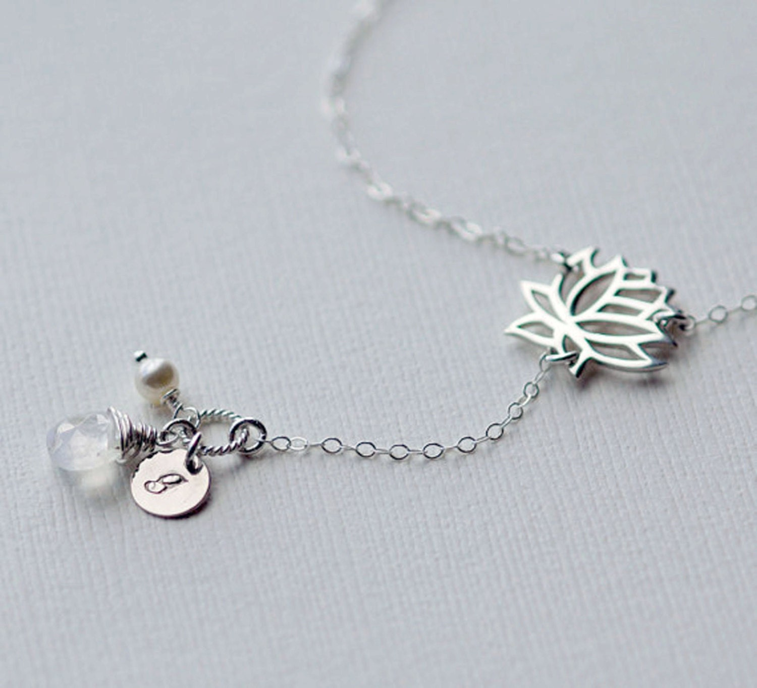 Initial Necklace Lotus Flower Necklace Personalized Mothers