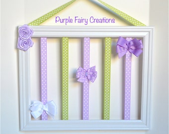 Accessories Organizer Picture Frame - White, Sage Green, Lavender and Hooks (Hair Bow & Headband Holder) Baby Girl, Girl or Teen Room