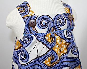 Blue and mustard Ankara print baby dress