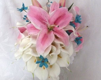 Star Gazer lily calla lily wedding bouquet calla lily pink lily bridal bouquet calla lily bridal bouquet