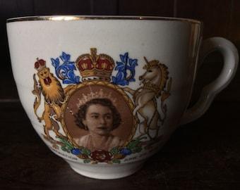 Vintage English Royal Queen Elizabeth Coronation Tea Cup Mug circa 1950's / English Shop