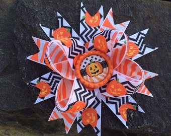 Chevron Halloween Pumpkin Hairbow