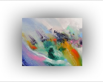Abstract Art  Painting Expressionism Fine art Wall Decor - Beyond the Sea - 24 x 30 -Skye Taylor