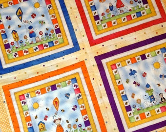Baby Blanket Toddler Blanket Kids and Kites Stroller Quilt Boys Girls Kites Butterflies  Orange and Purple