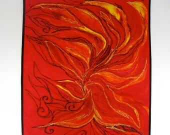 Fiber Art Quilt Leaping Flames Wall Hanging